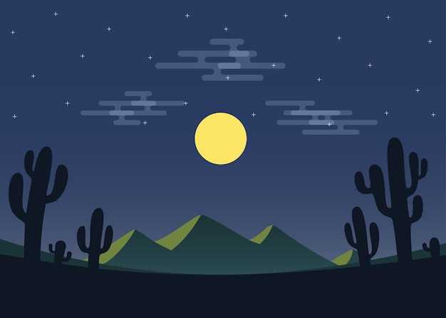 Night desert landscape with mountain and cactus.