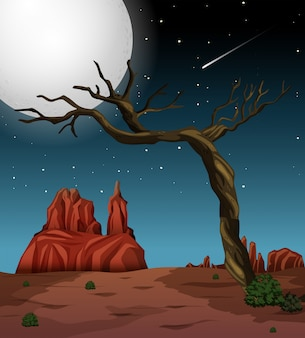 A night desert landscape
