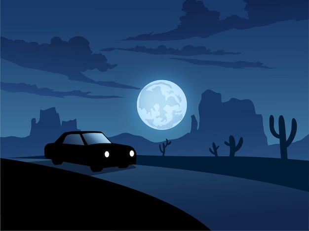 Night in desert with road and car