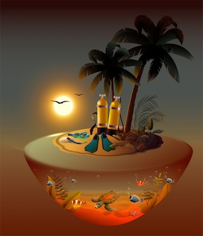 Ночное погружение на тропическом острове. водолазное снаряжение и морская жизнь