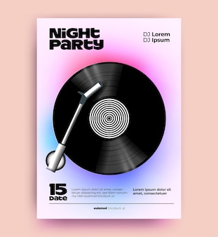 Night dj music party poster or flyer design template with realistic vinyl disk