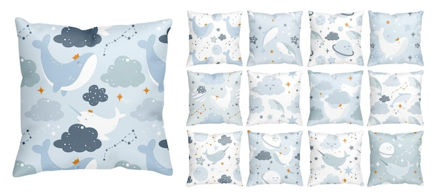 Night dream pattern with a cute space whale floating in the starry sky