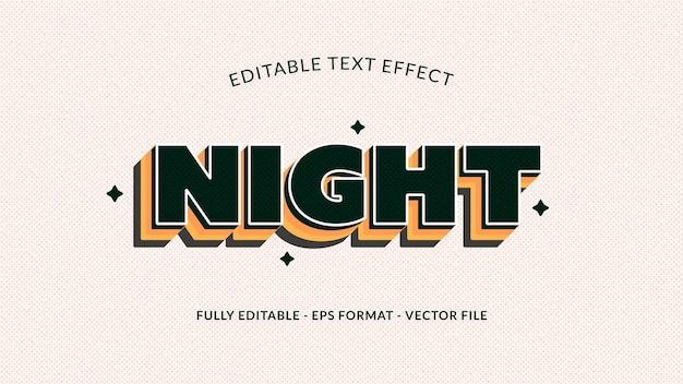 Night editable text effect in black