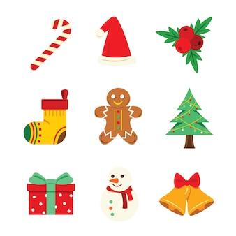 クリスマスの装飾のための夜の要素。