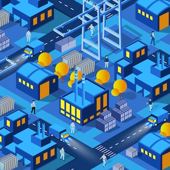 The night factory factories industry city background 3d future neon ultraviolet of urban infrastructure isometric buildings. conceptual illustration of vector of the modern architecture construction.