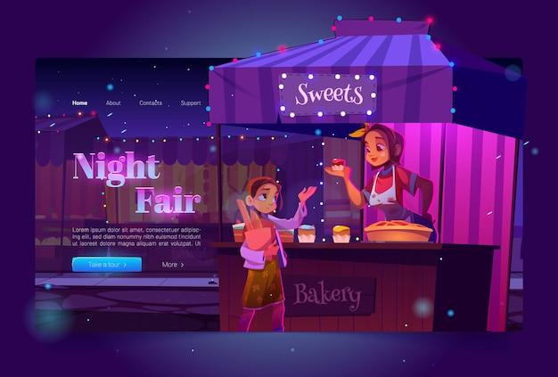 Баннер ночной ярмарки с продуктовым рынком на улице и девушкой, покупающей сладости, целевая страница праздничного рынка с карикатурной иллюстрацией деревянного прилавка, продавца пекарни у прилавка с пирожными