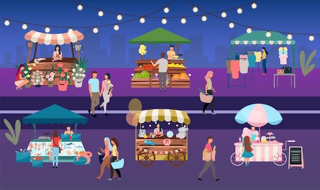Ночная ярмарка плоская иллюстрация