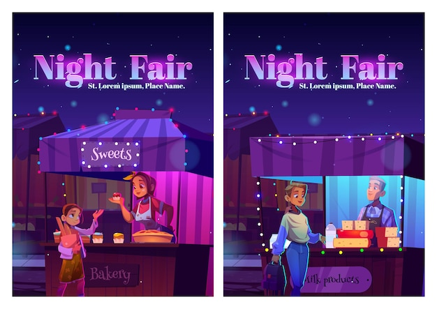 Night fair posters with food market on street