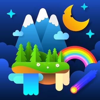 Ночной сказочный лес. луна в небе с радугой и звездами. вектор