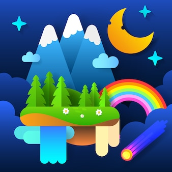 Night fairy forest . moon in the sky with a rainbow and stars. vector