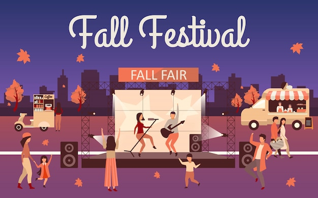 Night fall festival  illustration. autumn event and thanksgiving day holiday advertising poster. fall fair lettering. rock fest, carnival with street food truck. concert visitors cartoon character