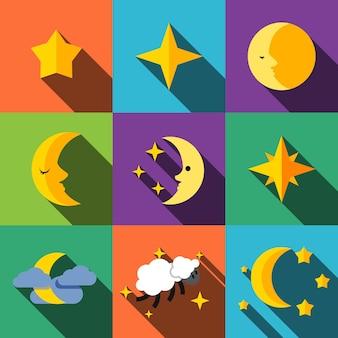 Ночные плоские иконки устанавливают элементы, редактируемые значки, могут использоваться в логотипе, пользовательском интерфейсе и веб-дизайне