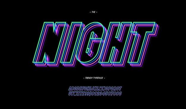 Ночной шрифт жирный неоновый стиль линии модная типография