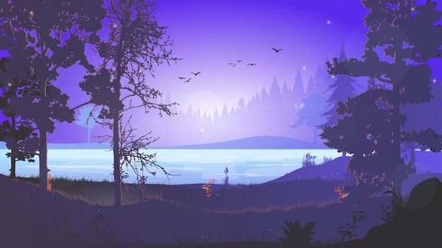 Night forest. forest landscape with a river at night. night in the forest. dawn in the forest. the sky with the stars. beautiful dawn illustration for ad banner or background.