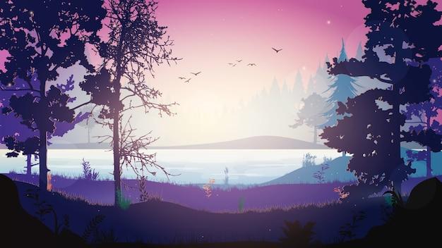 夜の森のベクトル。夜に川のある森の風景。