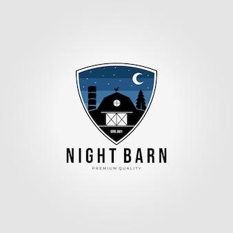 夜の森木造納屋ロゴベクトルイラストデザインヴィンテージシールドエンブレム