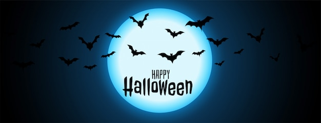 Night full moon with flying bats halloween illustration