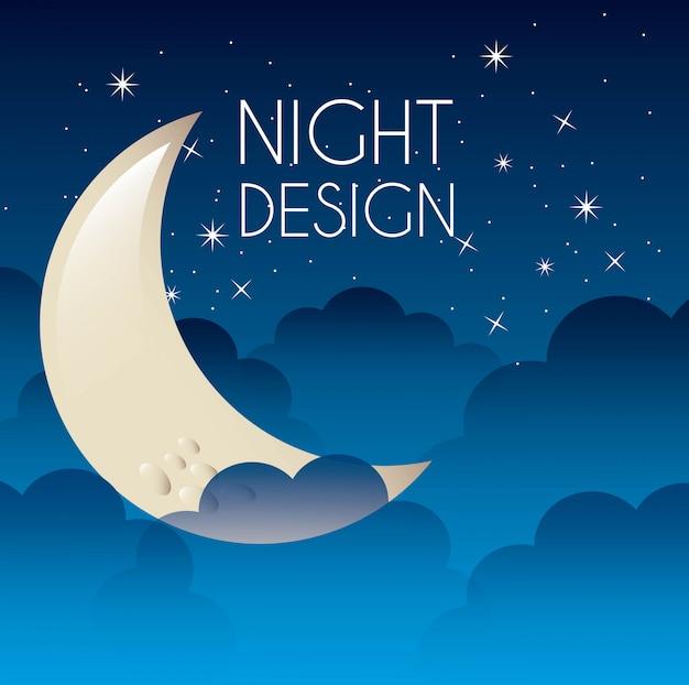 Night graphic design vector illustration