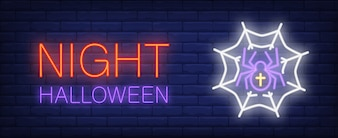 Night Halloween neon style banner with spider in webon brick background.