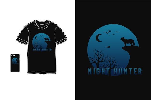 Tシャツ商品とモバイルでのナイトハンターのタイポグラフィ