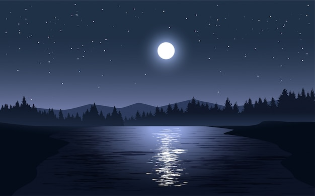 Night illustration with full moon and stars