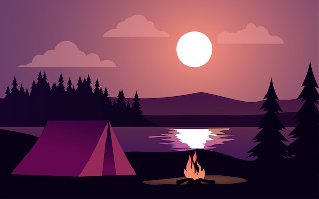 Night illustration with tent and bonfire at lake