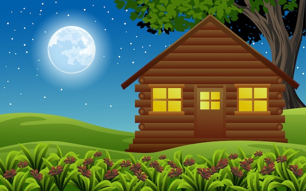 Night illustration with wooden small house