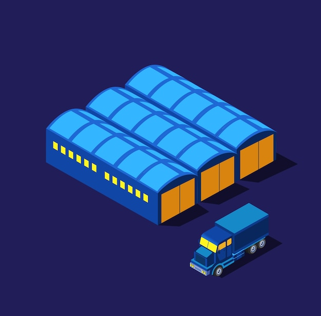 The night, infrastructure isometric buildings