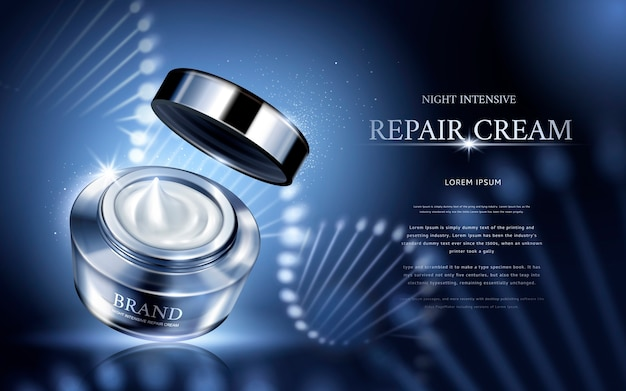 Night intensive repair cream contained in silver cosmetic jar with helical structure