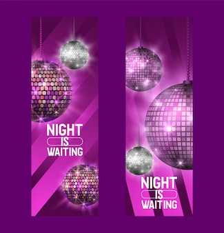 Night is waiting set of banners life begins at night entertainment and event disco show
