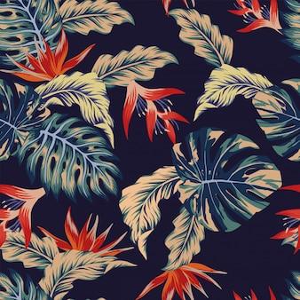 Night jungle seamless pattern