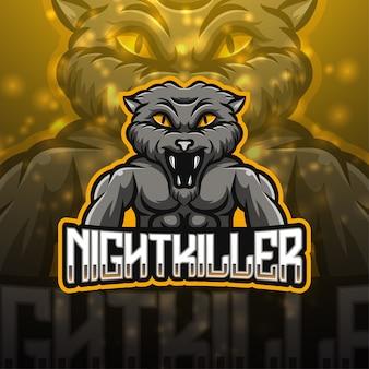 Дизайн логотипа талисмана ночного убийцы киберспорта