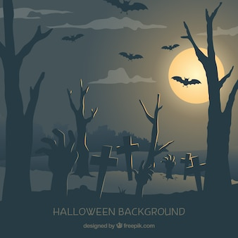 Night landscape background of cemetery with bats