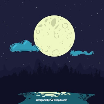 Night landscape background with moon and clouds
