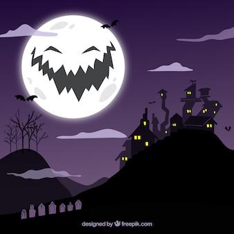 Ночной пейзаж фон с луной улыбается