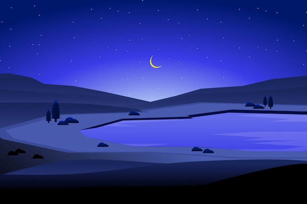 Night landscape and blue sky with mountain background illustration
