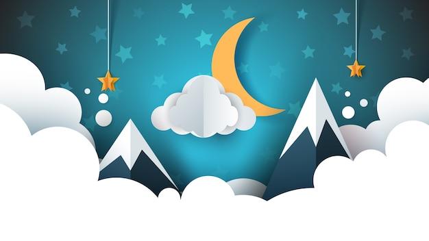 Ночной пейзаж - иллюстрация мультфильм. облако, гора, луна, звезда.