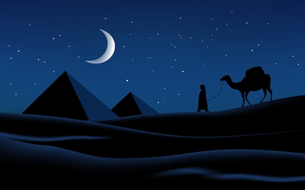 Night landscape of desert with pyramids and camel