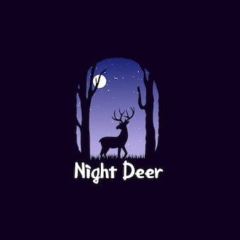 Night landscape in forest with deer. deer at midnight