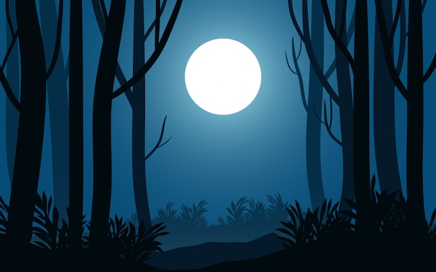 Night landscape in forest with tree silhouette and full moon