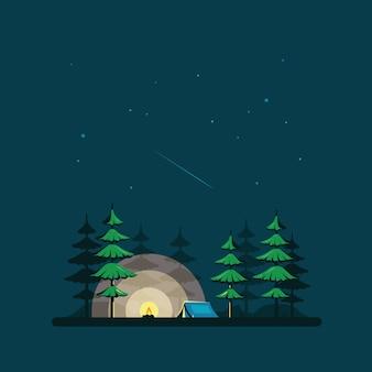 텐트와 숲이있는 평면 스타일의 밤 풍경