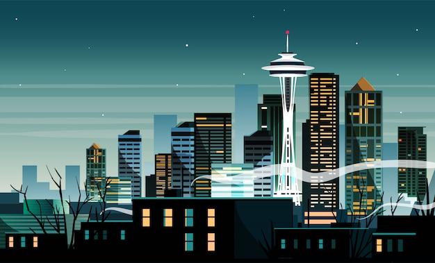 アメリカ、シアトル市の夜の風景。