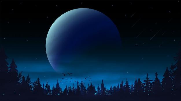地平線上の大きな惑星と松林のシルエットのある夜の風景。青い夜の宇宙風景