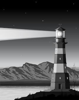 Ночной пейзаж с подробным маяком, горами и морем