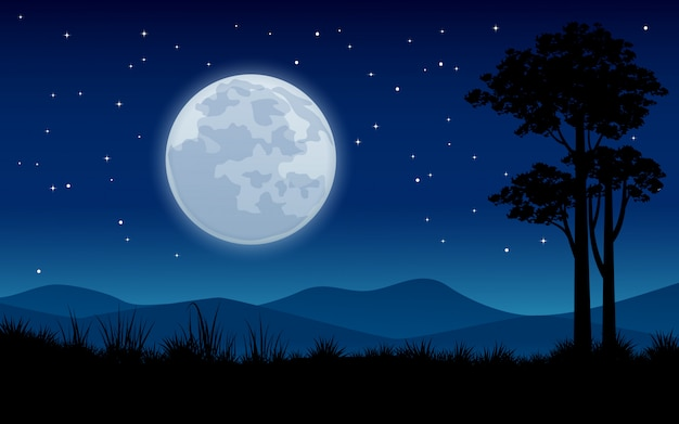 満月と木のシルエットの夜の風景