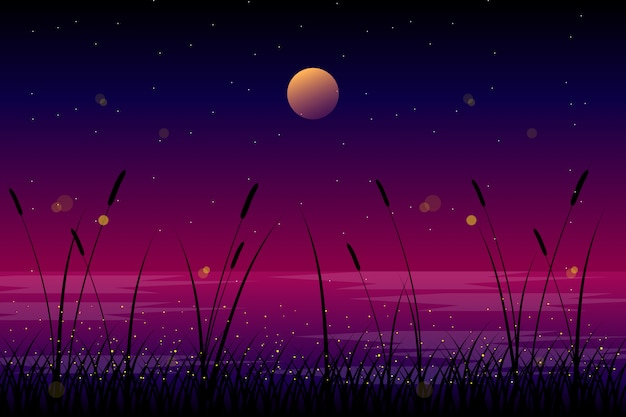 Night landscape with moon and sky illustration