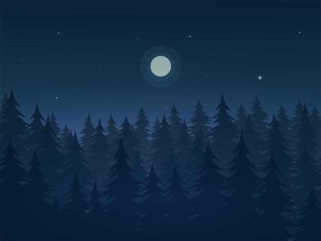 Ночной пейзаж с лунным светом в лесу