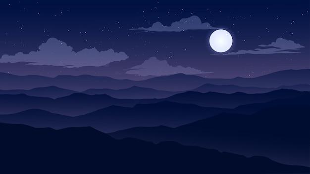 山と月明かりの夜の風景