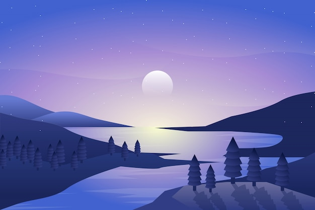 Night landscape with sea and sky illustration