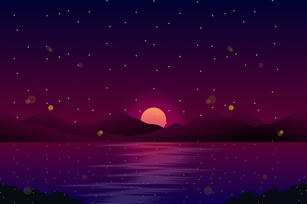 Night landscape with sea and sky with stars illustration
